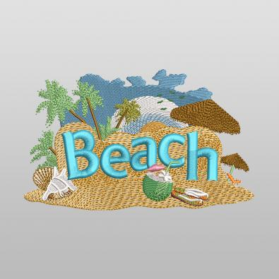 Chill Out Beach Embroidery Design - Cre8iveSkill