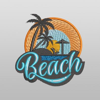 Morning Beach Embroidery Design - Cre8iveSkill
