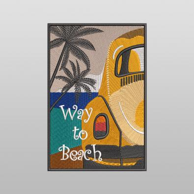 Way To Beach Embroidery Design - Cre8iveSkill