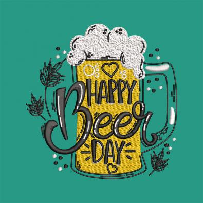 Beer Day Embroidery Design-Cre8iveskill