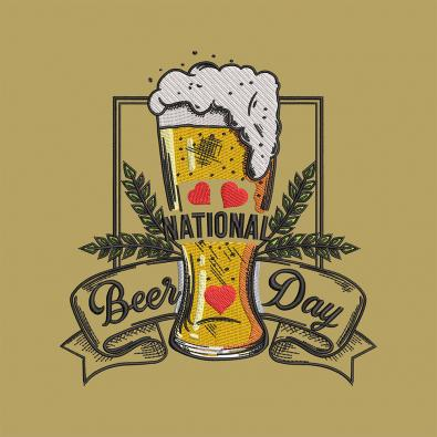 National Beer Day Machine Embroidery Design- Cre8iveSkill