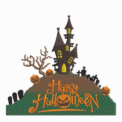 Halloween Haunted House Embroidery Design | Cre8iveSkill