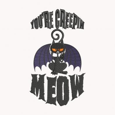 Halloween Creepy Meow Embroidery Design   Cre8iveSkill