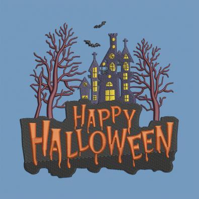 Halloween Creepy Haunted House Embroidery Design