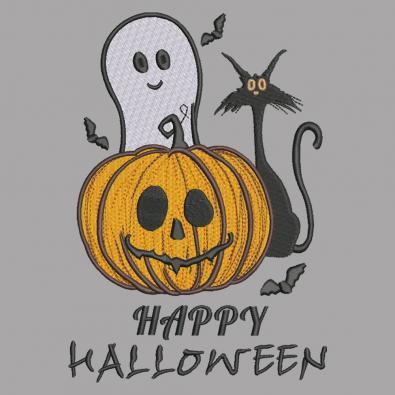 Happy Halloween Pumpkin Ghost and Kitty