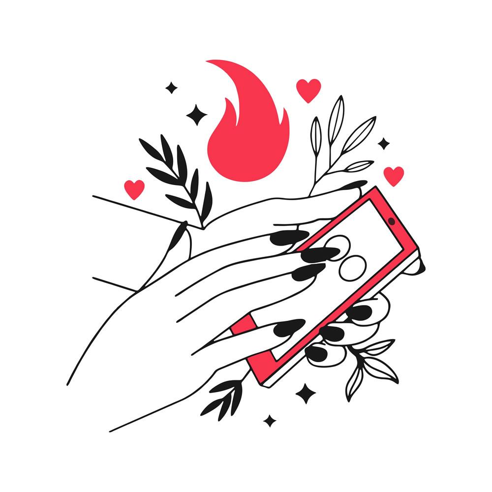 Hands of women using mobile design