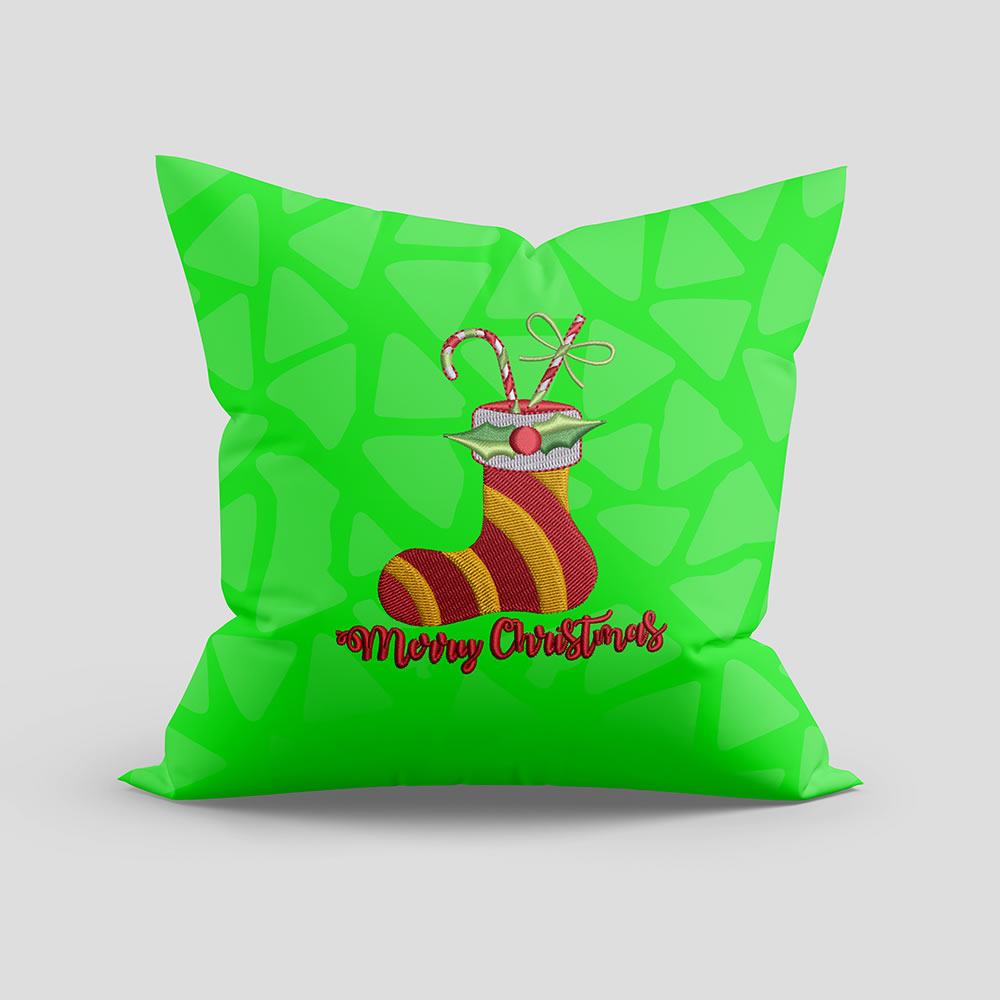Digitized Christmas Socks Pillow Mockup