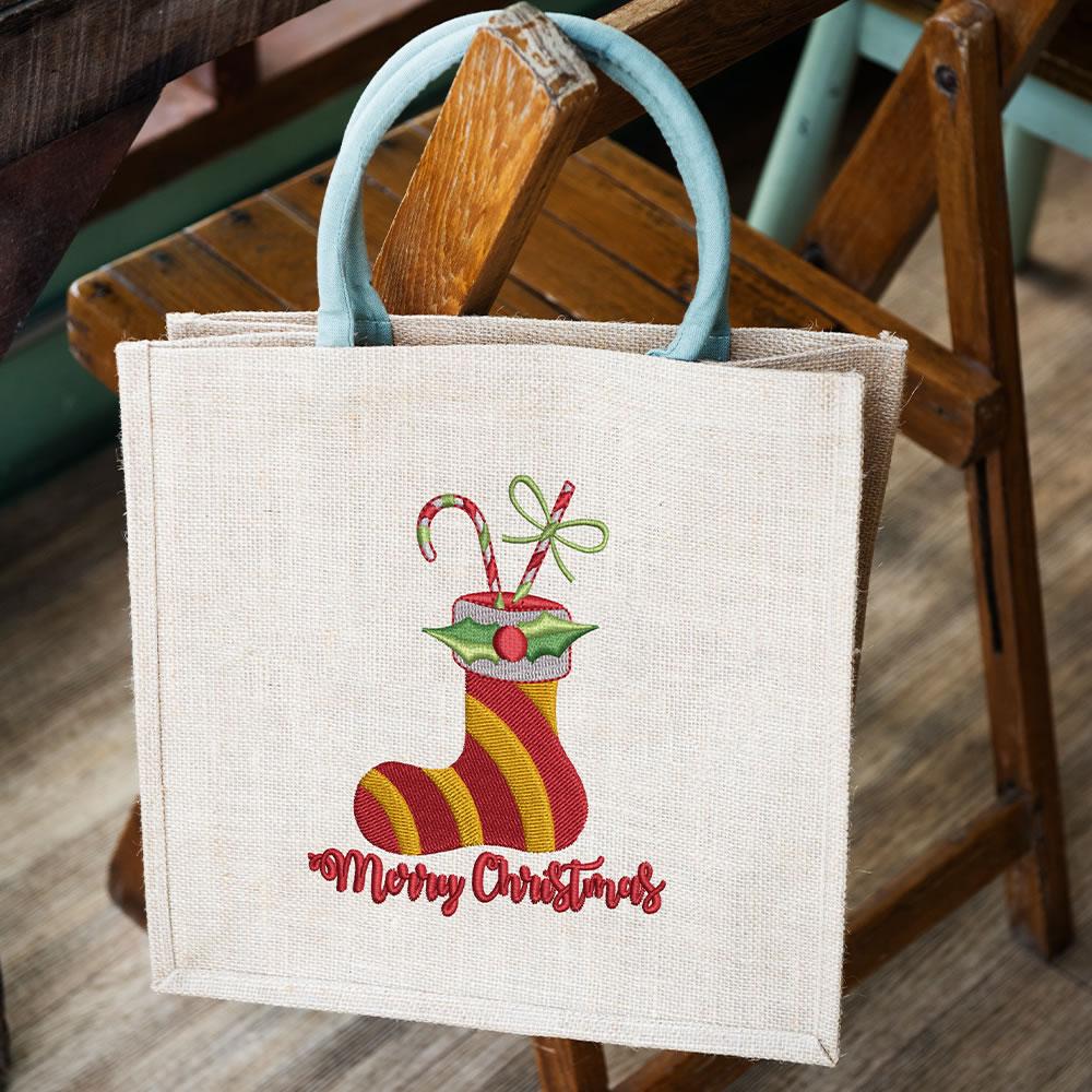 Digitized Christmas Socks Bag Mockup