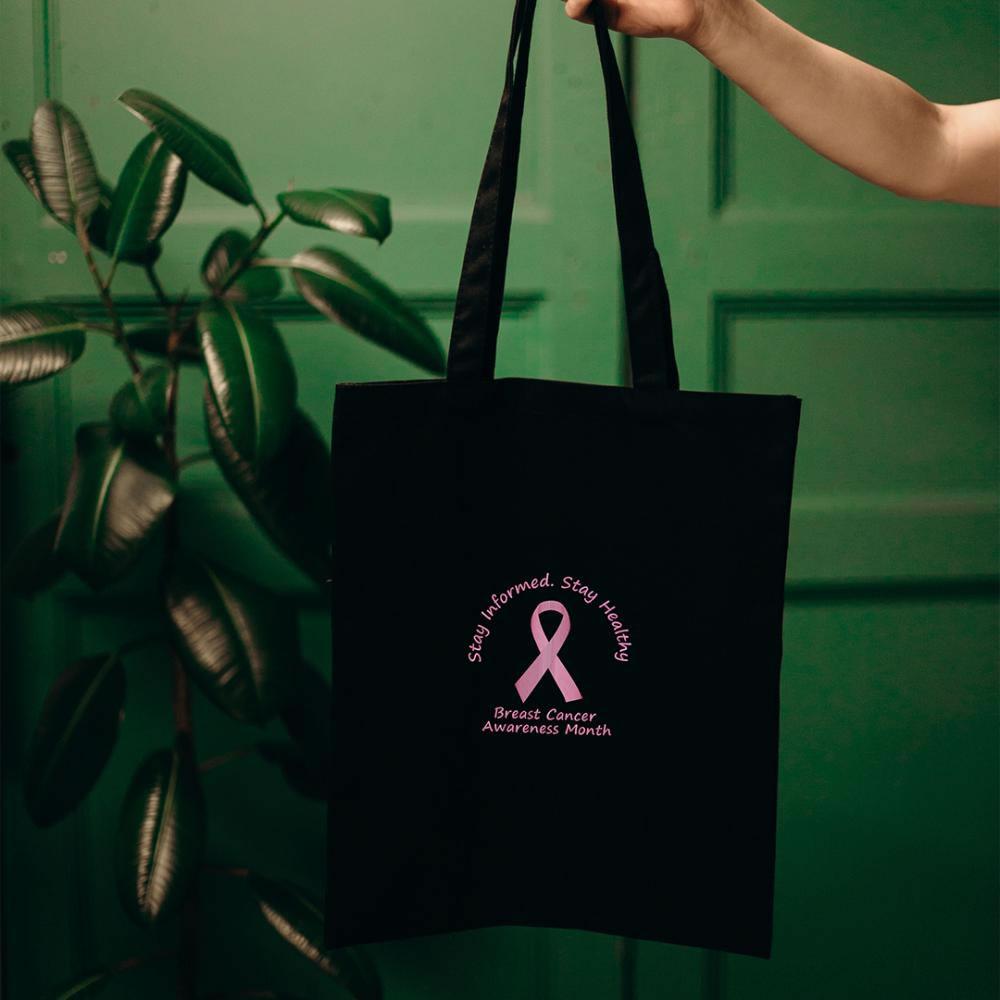 Breast Cancer - Pink Ribbon Vector Art tote bag mock up