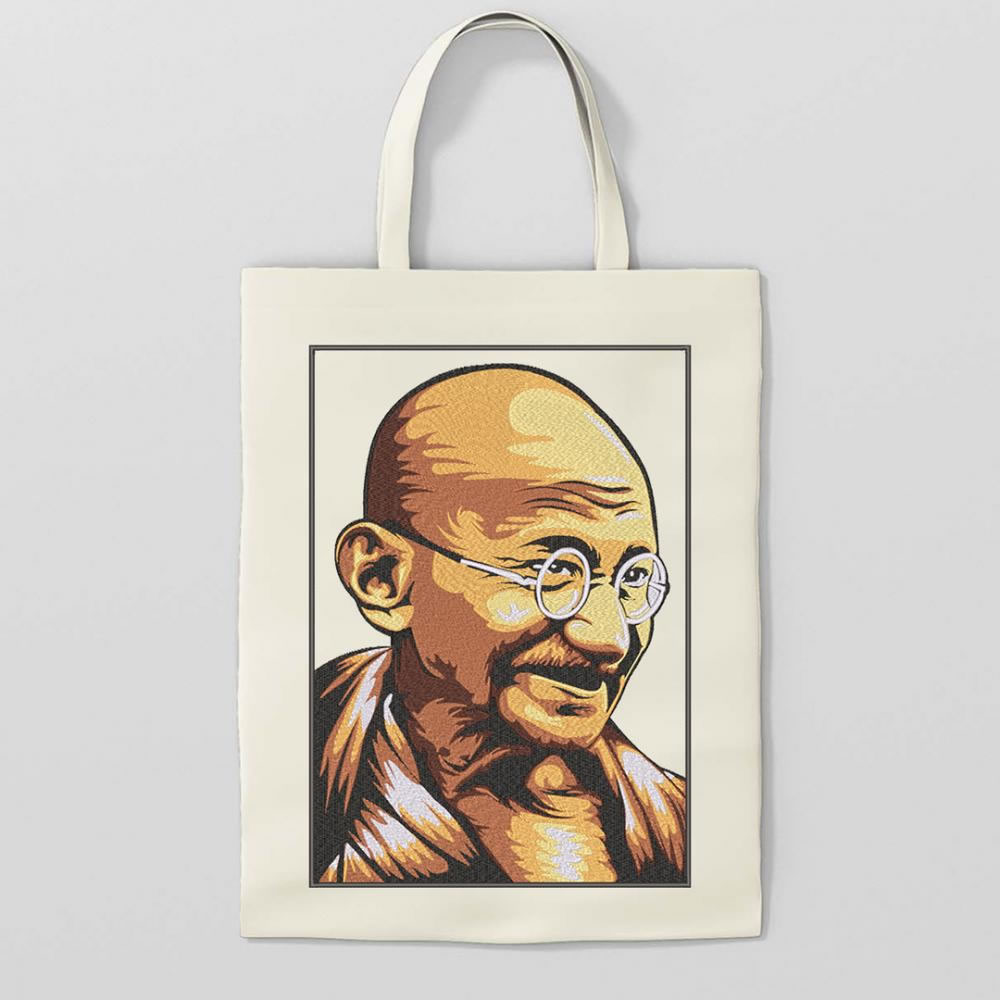 Gandhi Portrait Embroidery Design