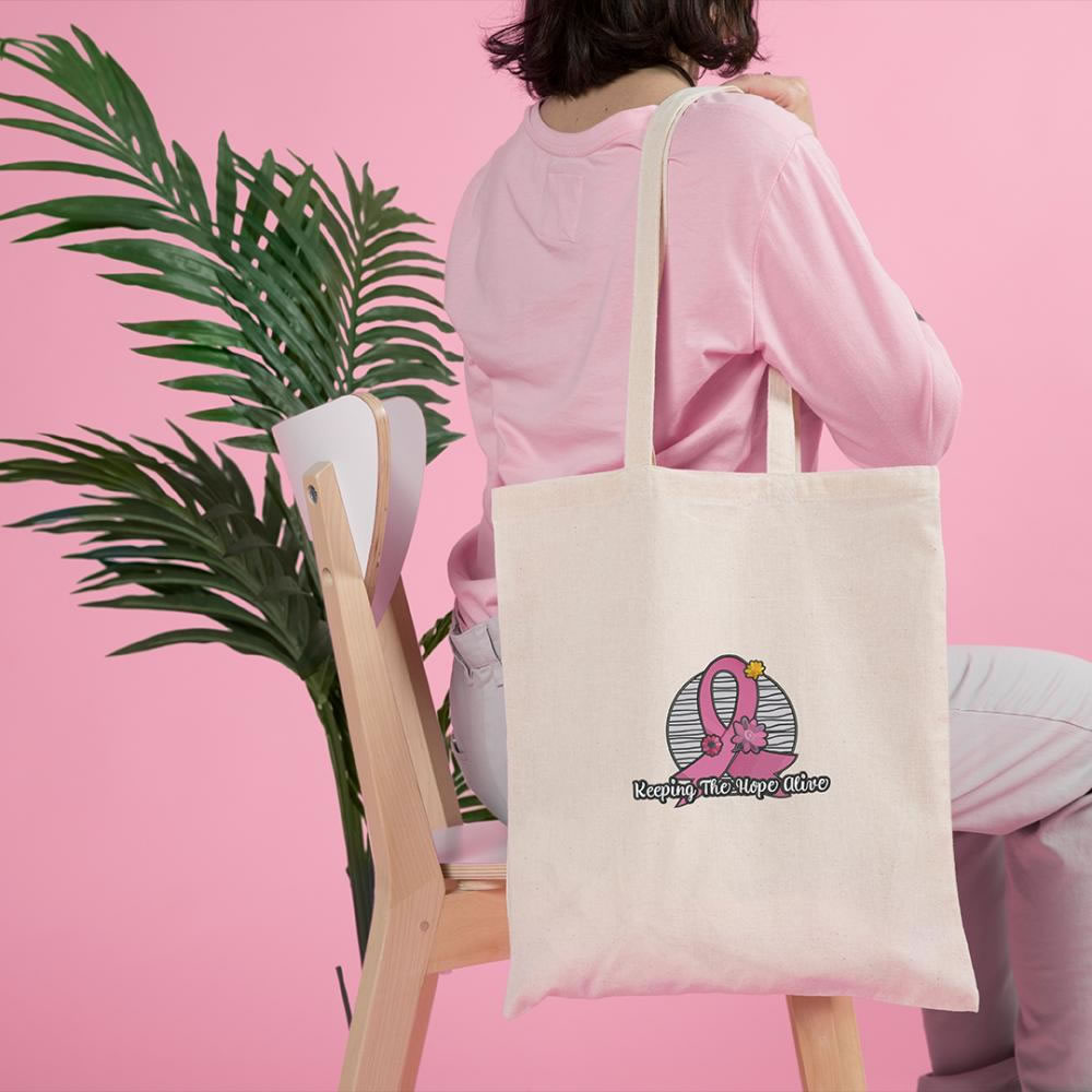 Breast Cancer Awareness Embroidery Design tote bag