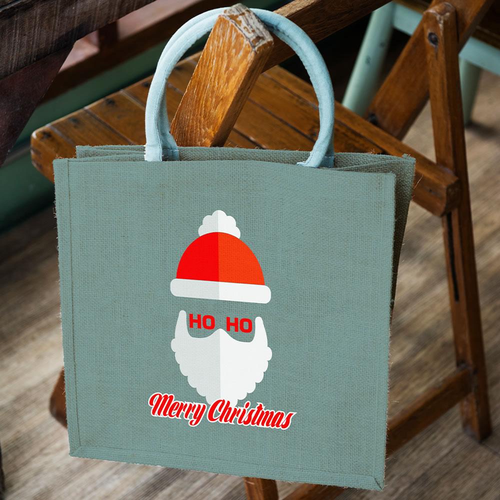 Santa claus vector mock up on tote bag