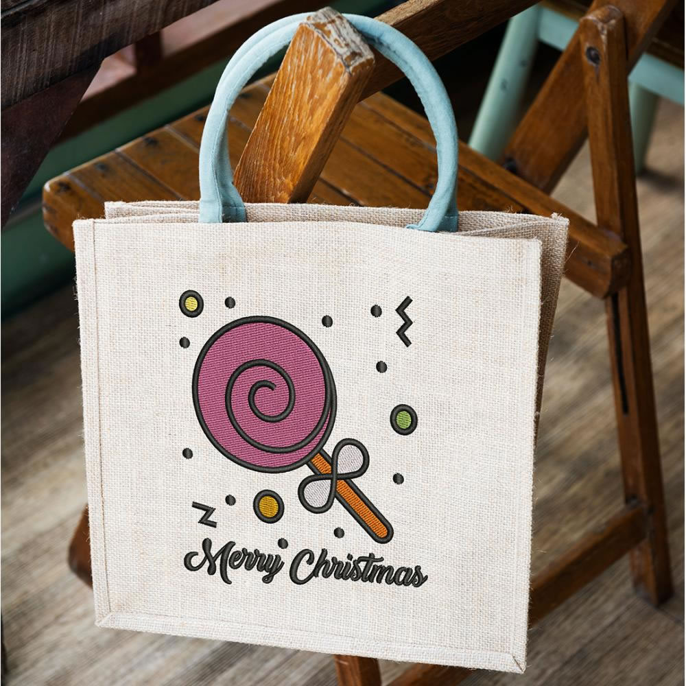 Embroiderized Lollypop Christmas Design