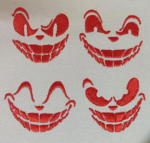 Furious Face Embroidery Design