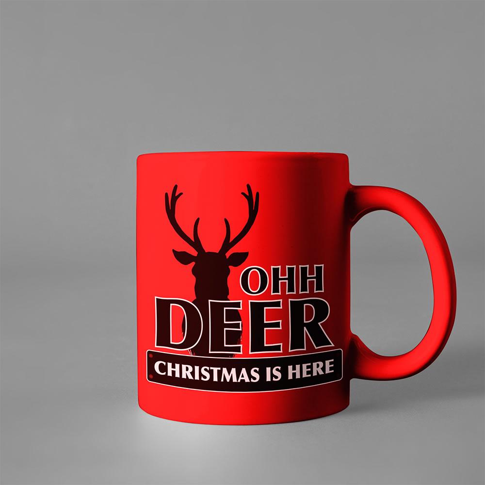Christmas Raindeer vector art cup mock up