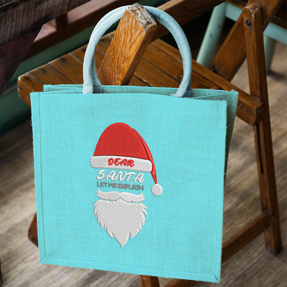 Santa Embroidery Bag Mock Up