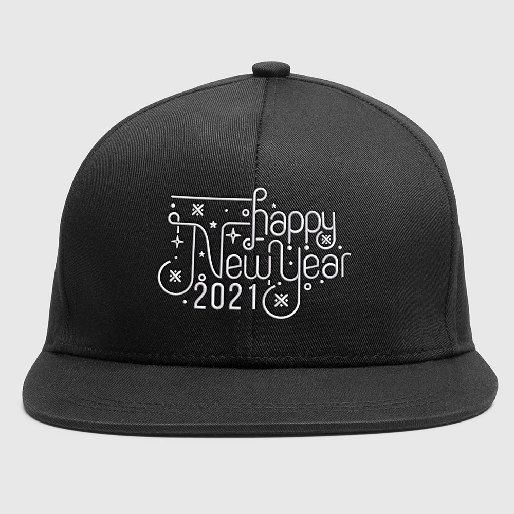 HNY Calligraphy Cap Embroidery