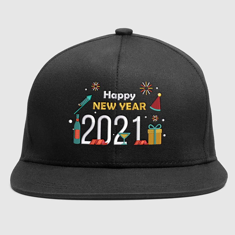 Embroidery design: Happy new year party Cap