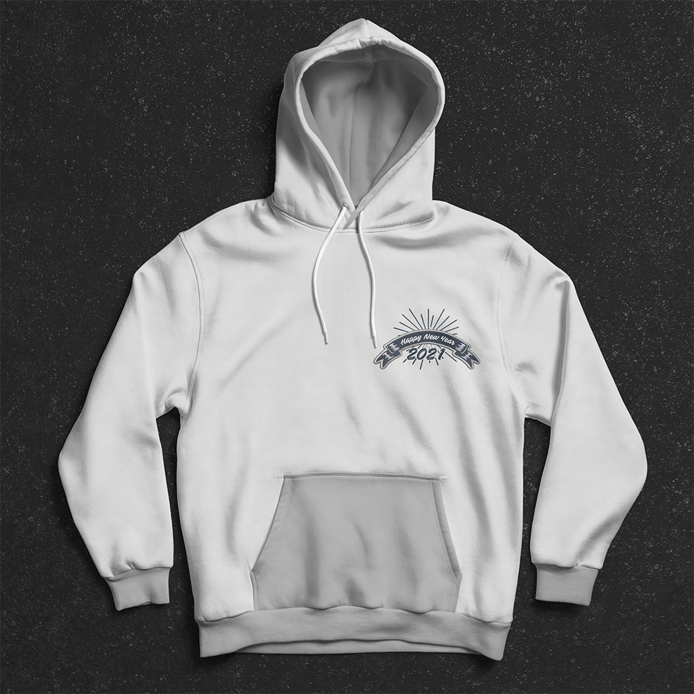 Happy new year digitized embroidery Hoodies