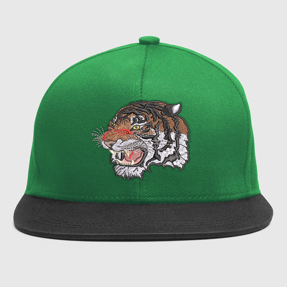 Tiger Face Embroidery For Cap