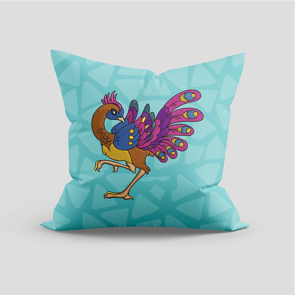 Peacock Embroidery Design cushion