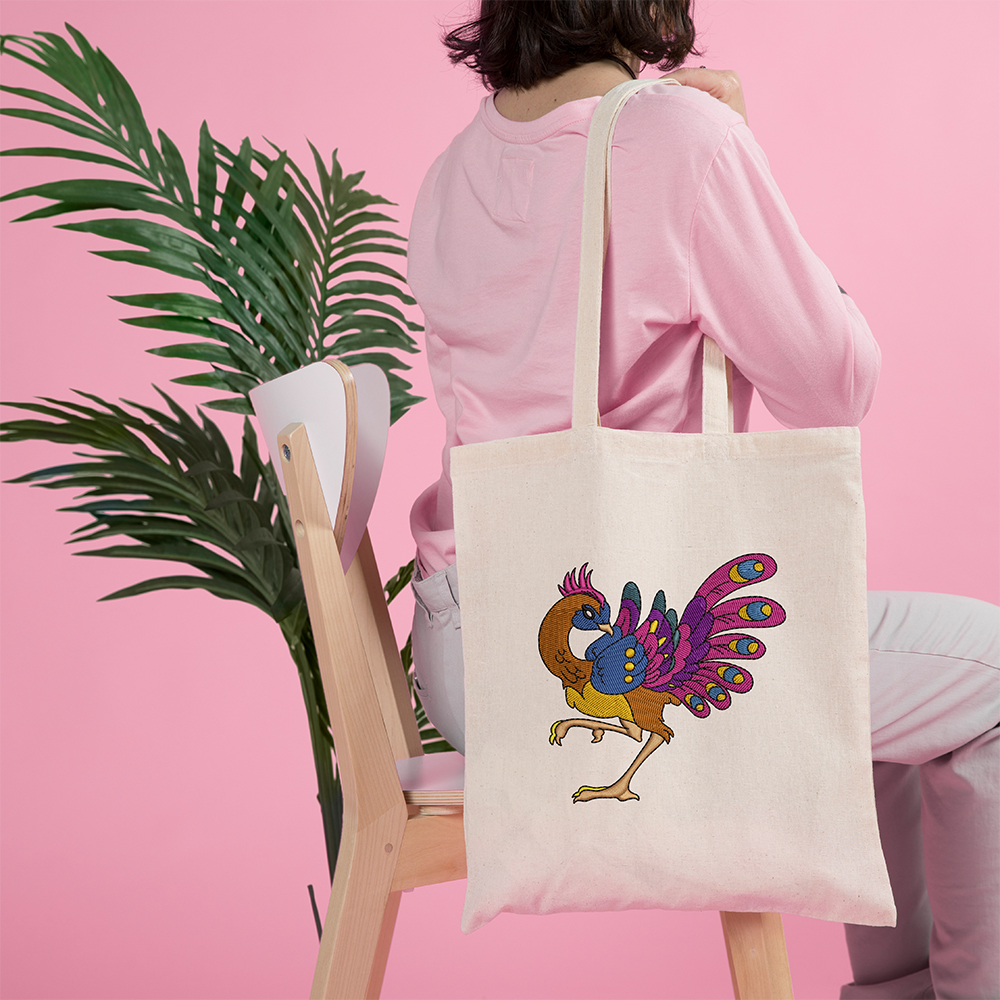 Peacock Embroidery Design Bag