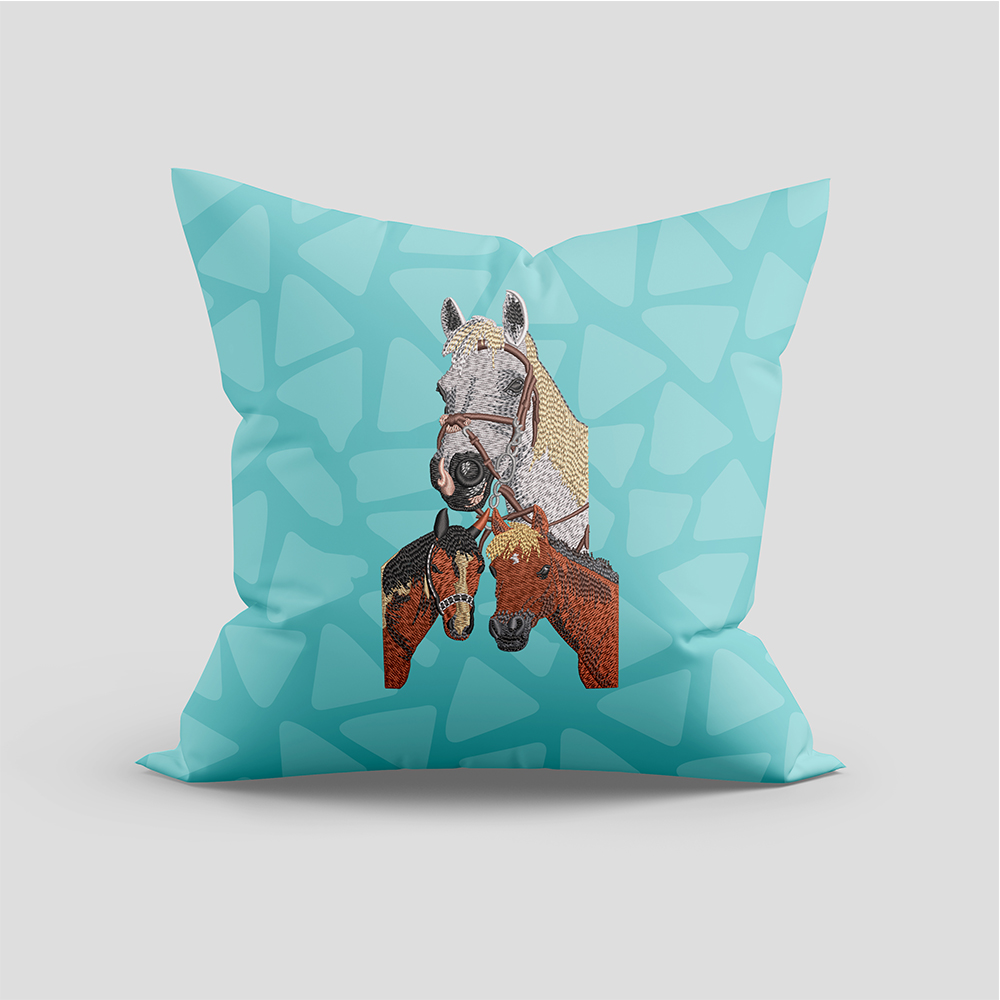 Horse Embroidery Cushion Mock Up