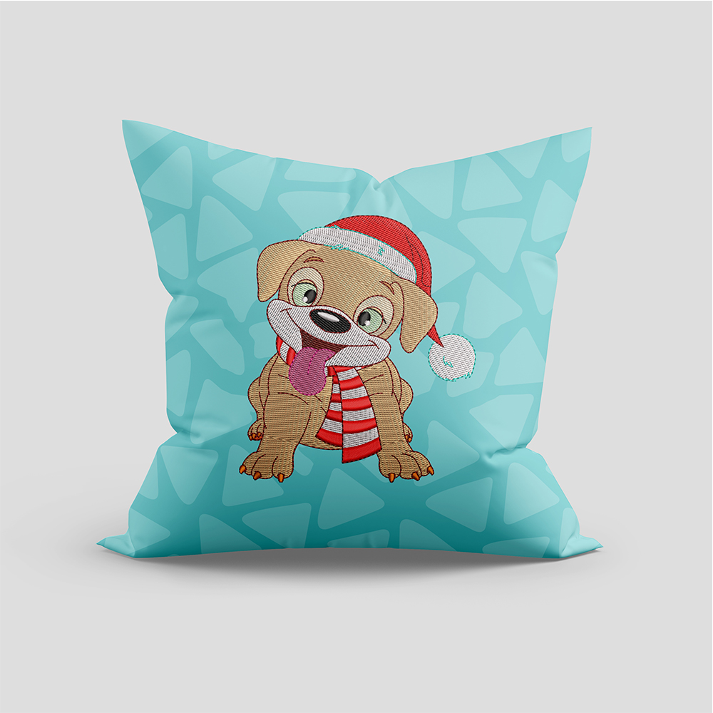 Cute Puppies  Embroidery Design Cushion