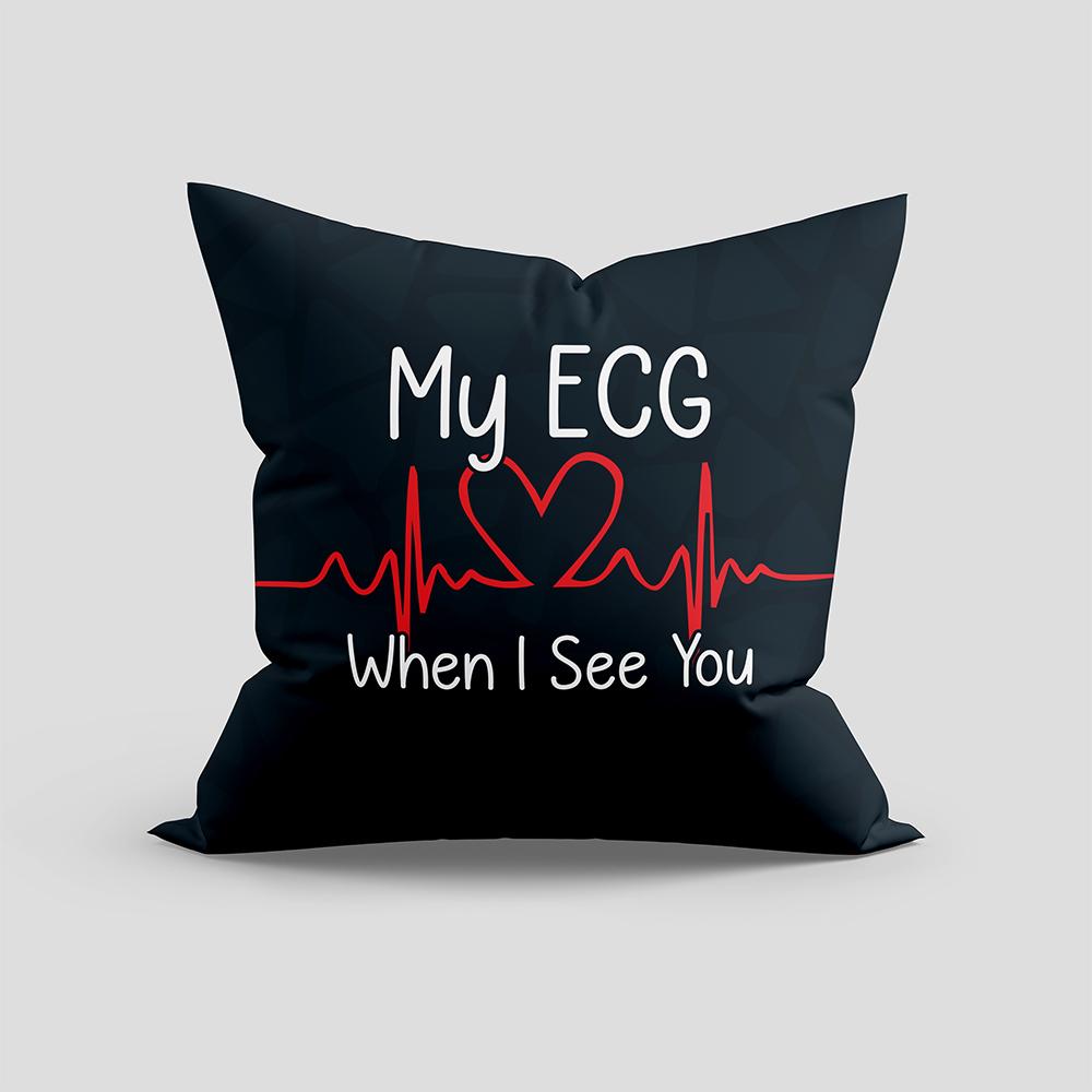 ECG When I See You Cushion Vector Design