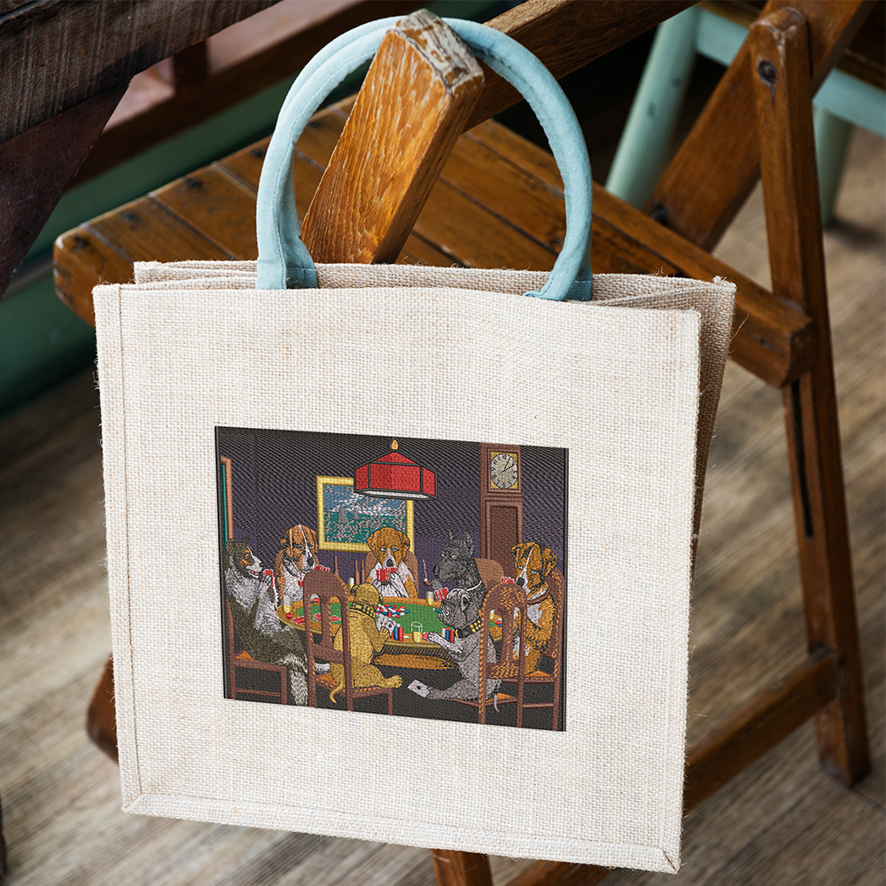 Tote Bag Embroidery Design: Doggies Party