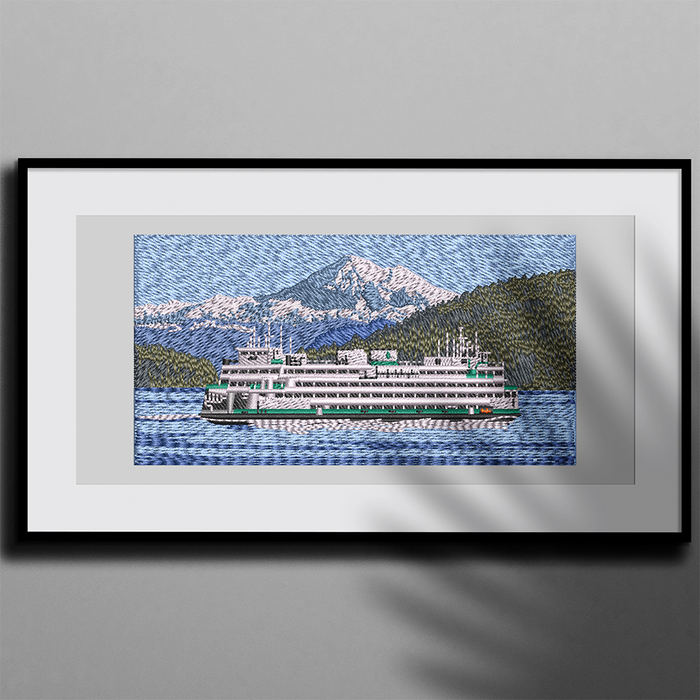 Embroidery Design: Cruise ship Photo Frame