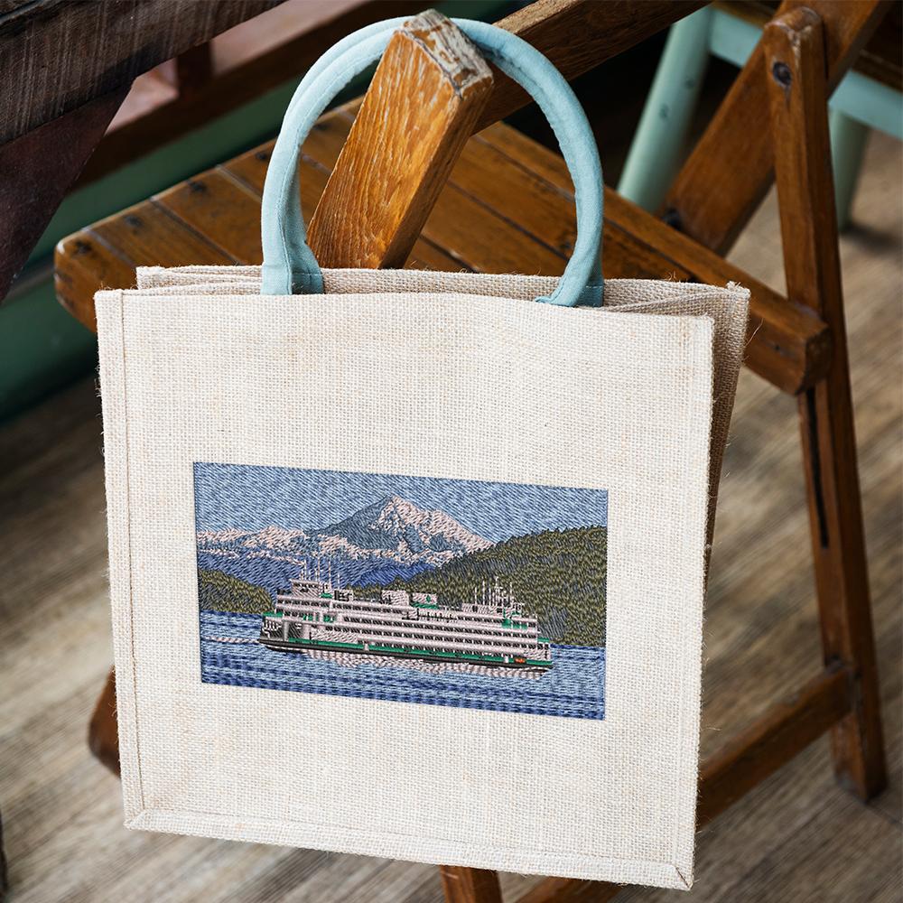 Embroidery Design: Cruise ship Tote Bag