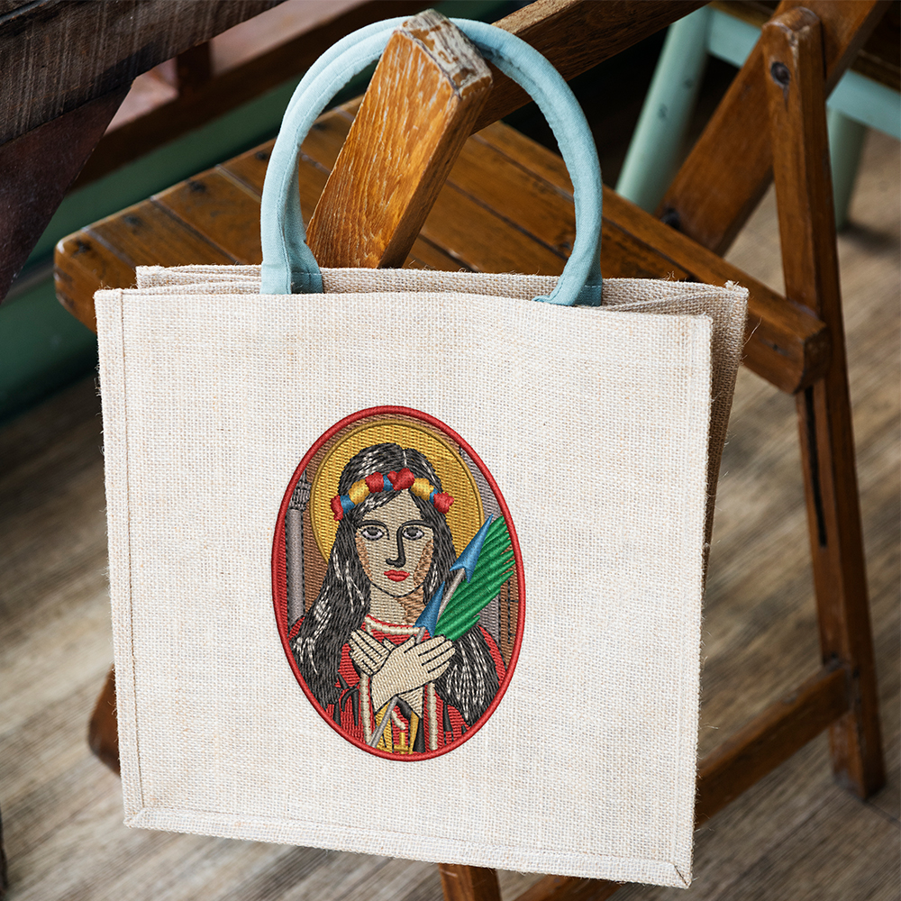 Embroidery Design: Beautiful Lady Tote Bag