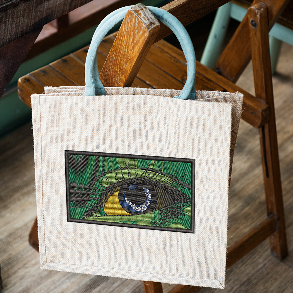 Eye Embroidery Design Tote Bag