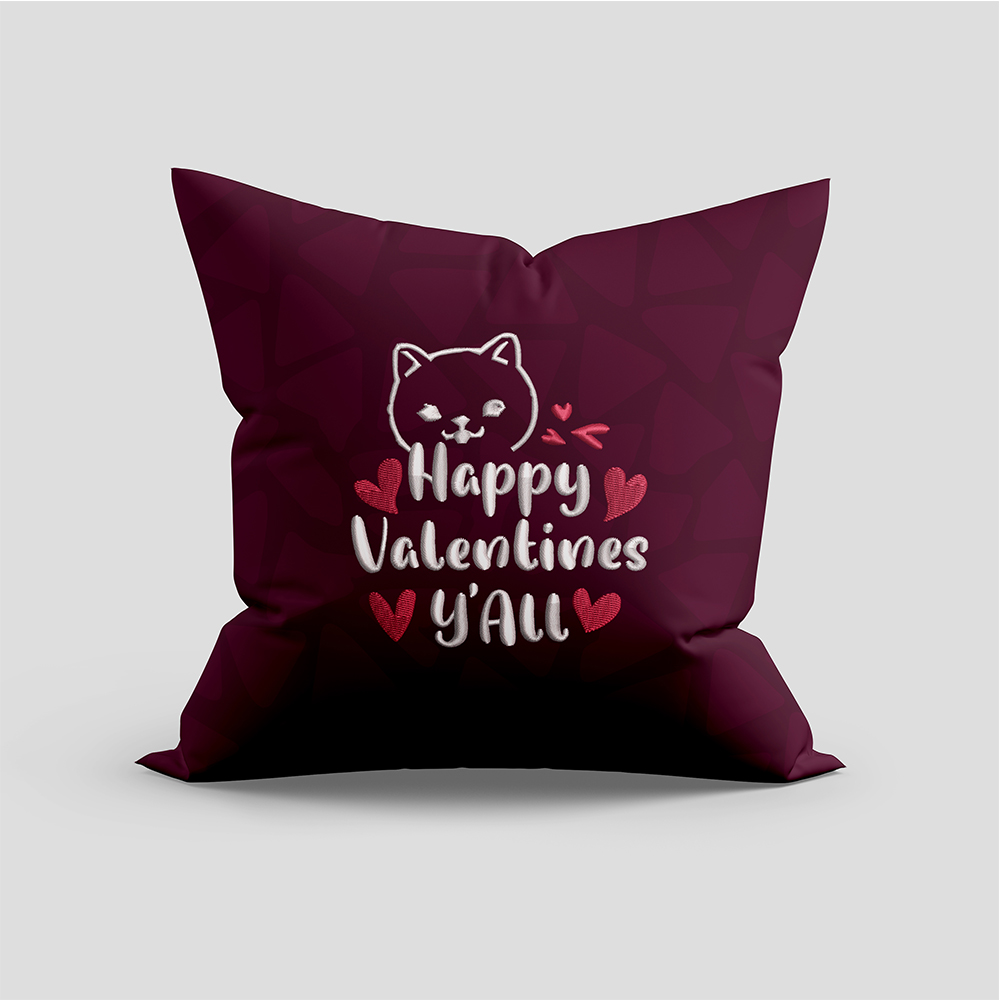 Embroidery Design: Happy Valentine Y'all For Cushion Mock Up