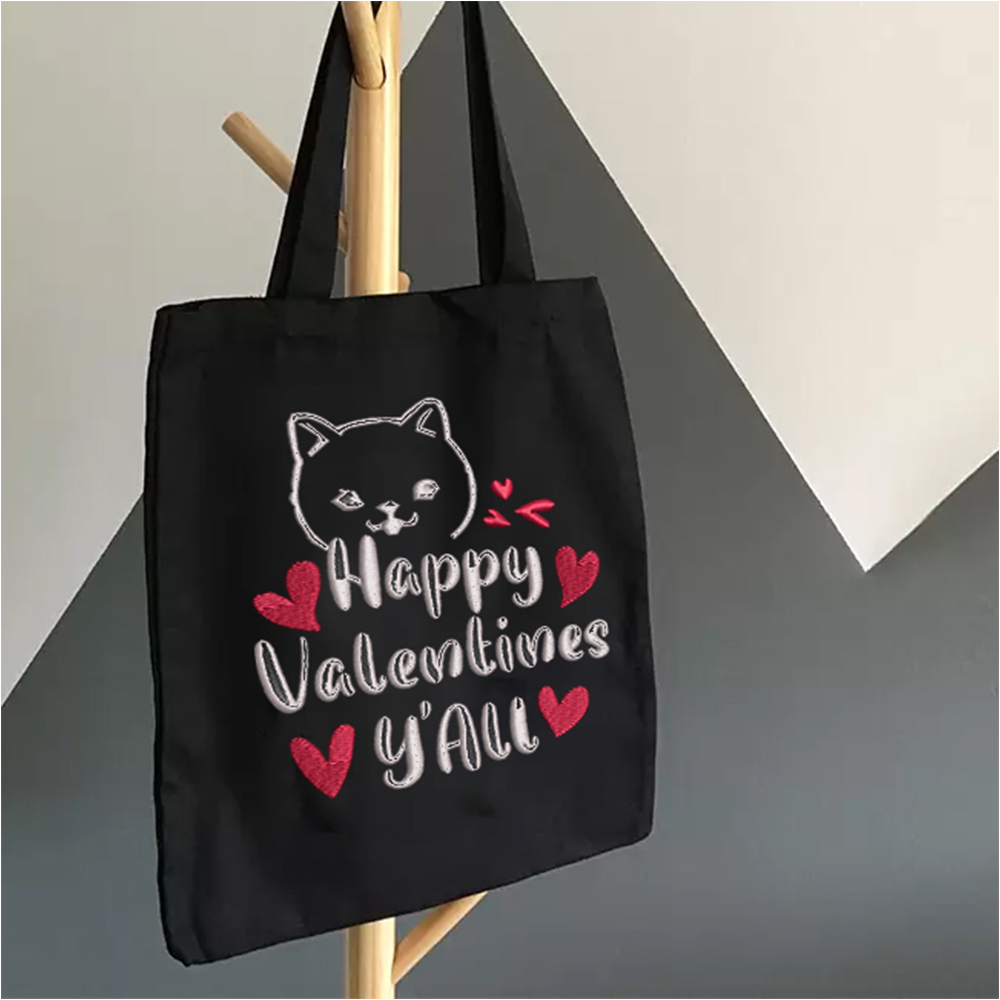 Embroidery Design: Happy Valentine Y'all Display For Tote Bag