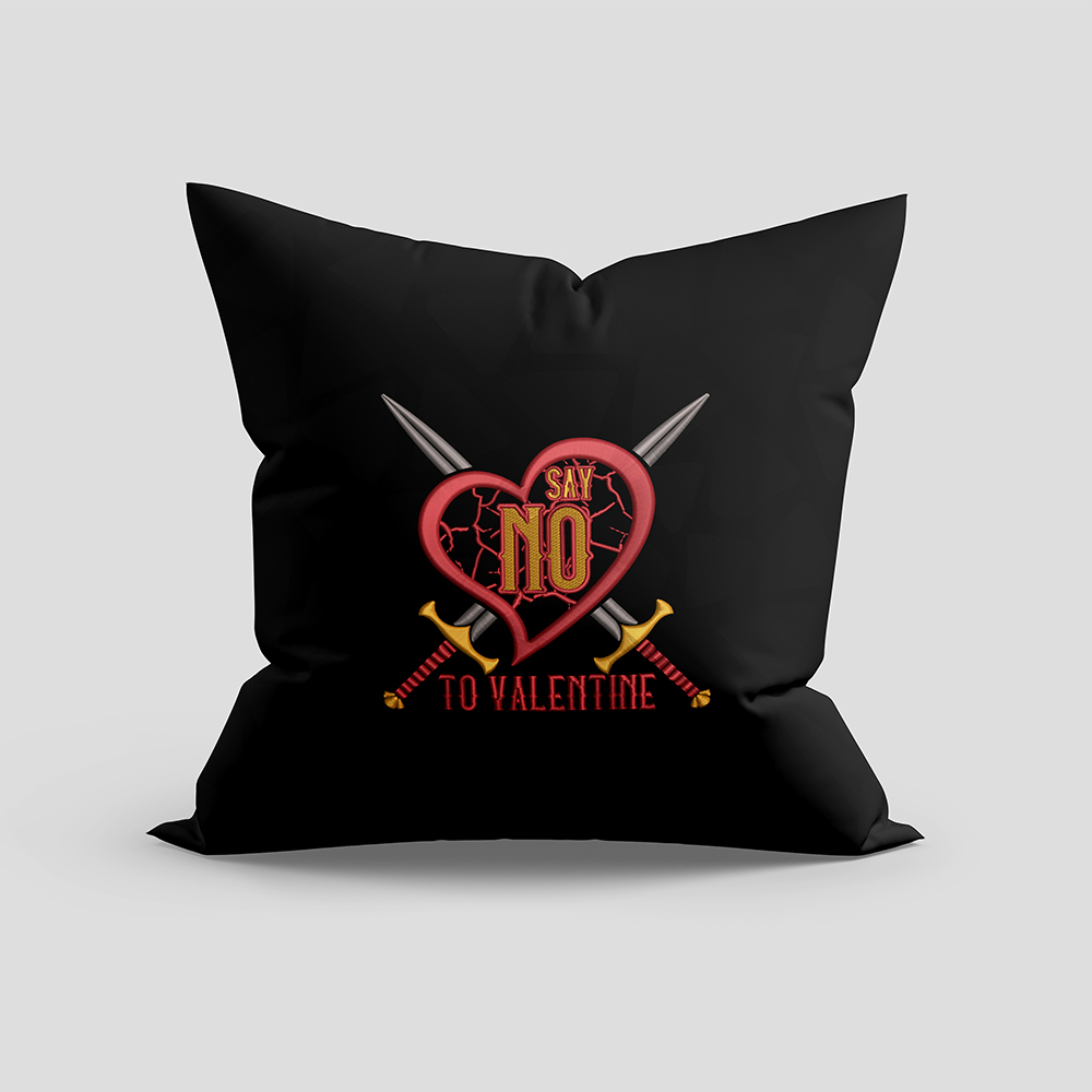 Embroidery Design: Say No To Valentine Cushion Mock Up