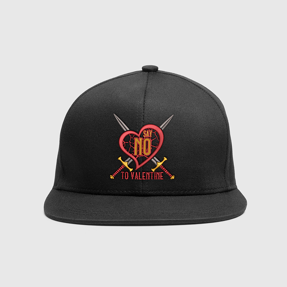 Embroidery Design: Say No To Valentine Cap Mock Up