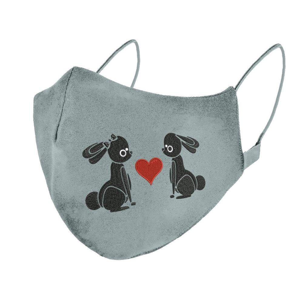 Embroidery Design: Bunny In Love Mask