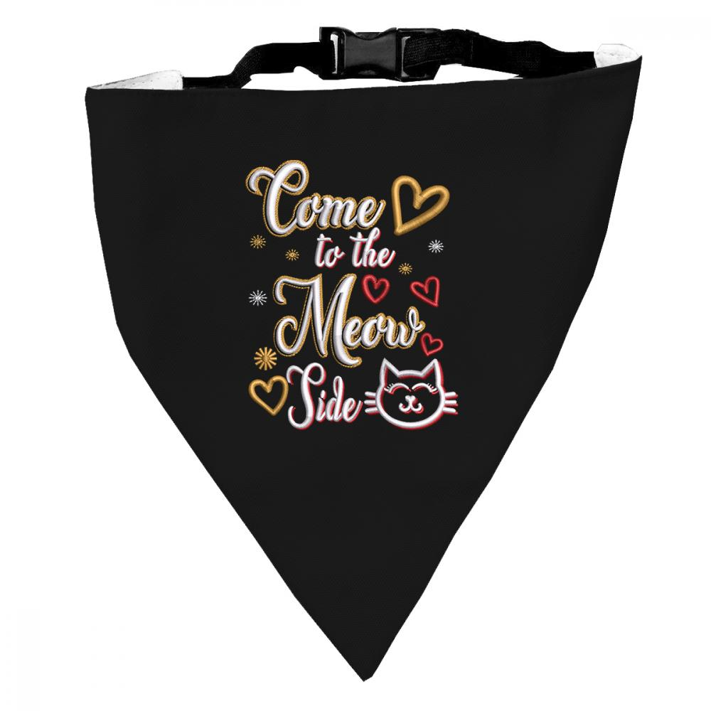 Embroidery design: Kitten Meowing Typography Dog Scarf