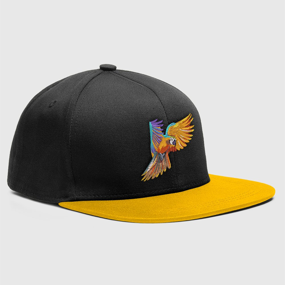Embroidery Design Colorful Parrot Cap Mock-Up Design