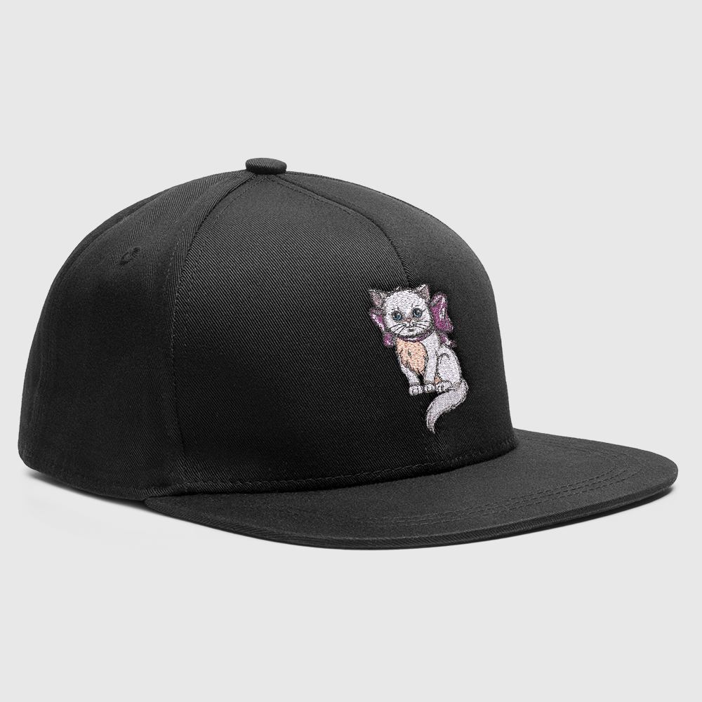 Embroidery Design Cute Kitten Drama Cat Mock-up Cap Design