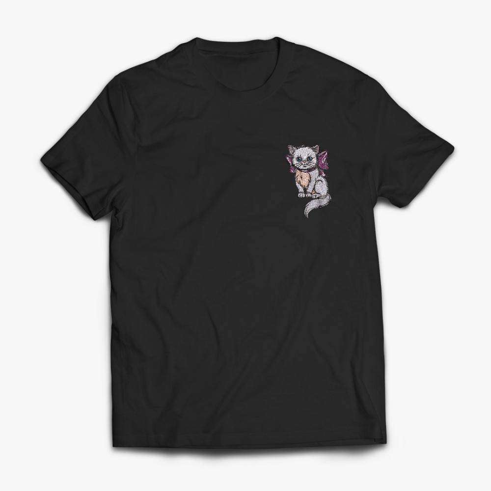 Embroidery Design Cute Kitten Drama Cat T-Shirt Mock-up Design