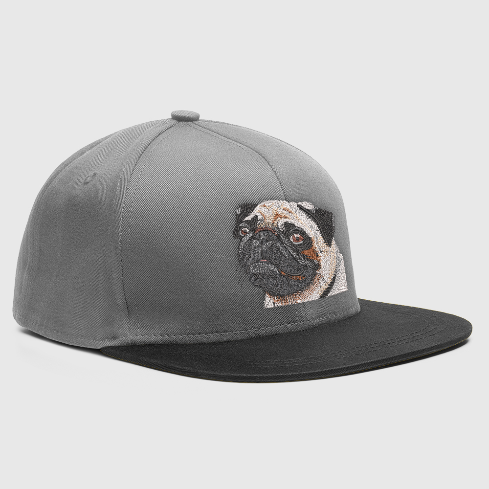 Embroidery Design Baby Pug Cap Mock-Up Designs