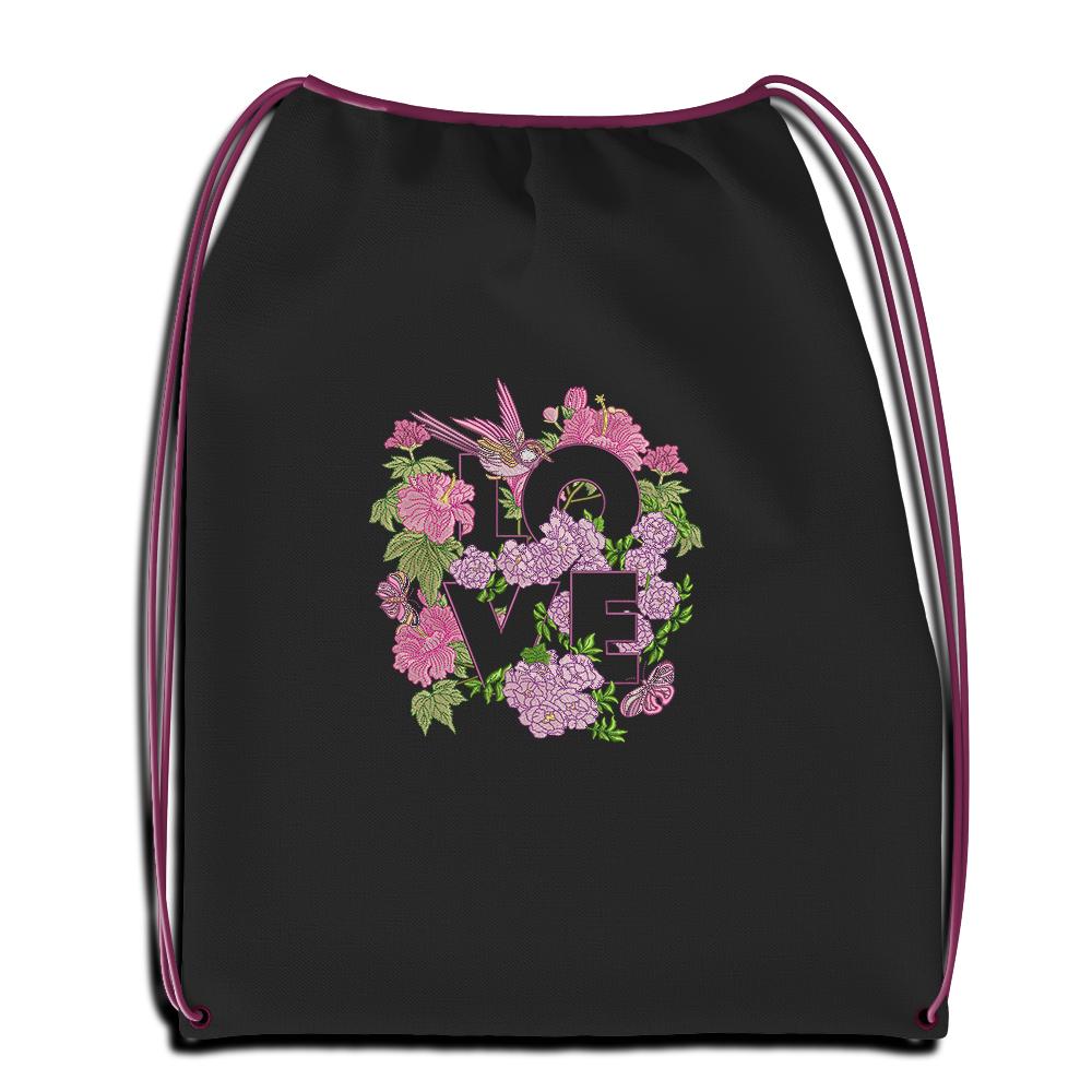 Cre8iveSkill's Embroidery Design: Flower Love Sac Mockup