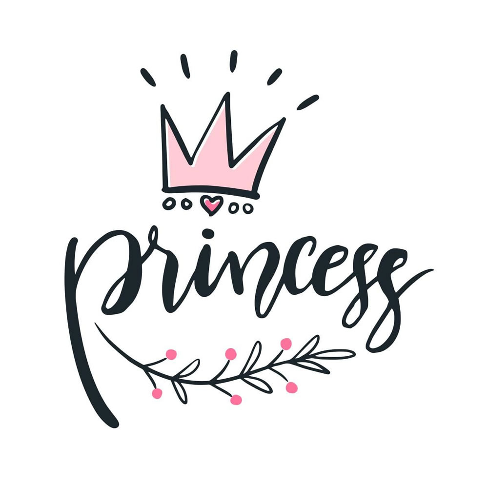 Princess With Crown Typography