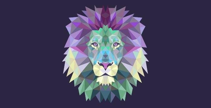 Vector lion polygonial